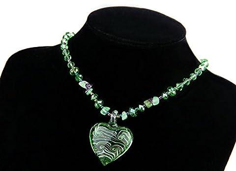 Skyllc® En forme de coeur collier pendentif de pierre gemme verte cristal naturel 35mm