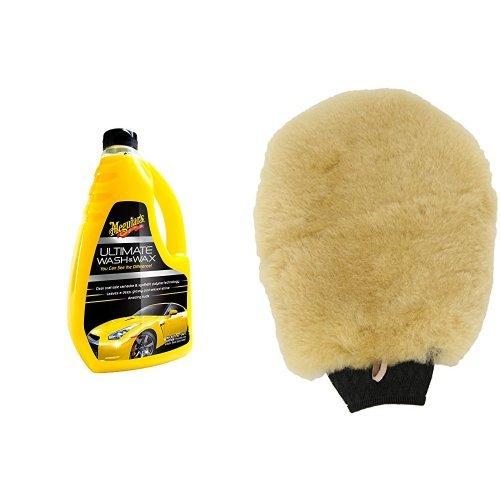 Preisvergleich Produktbild Meguiar's Ultimate Wash & Wax Autoshampoo mit Meguiars Waschhandschuh,  Lammwolle