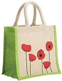 Samyawoven Bag Woven Canvas EcoFriendly Portable Bag Printed Red Green Floral (Natural)