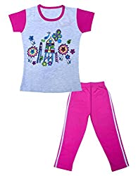 Little Stars Girls Regular Fit Pyjama and T-Shirt Set (Leo_Gtbs_006_26-3-4 Years, Off-White, 3-4 Years)
