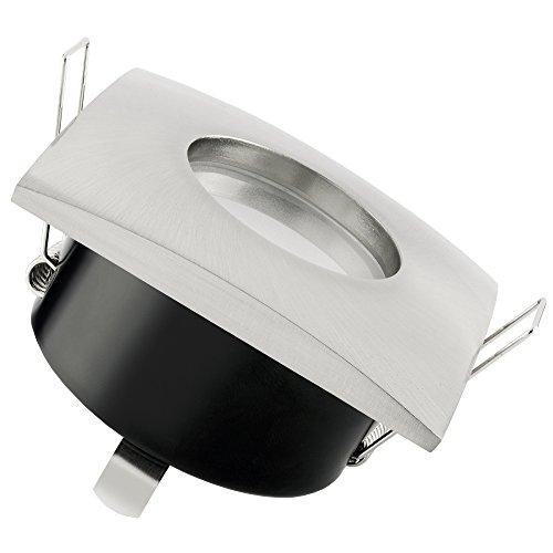 SSC-LUXon® LED Decken Einbaustrahler für Bad & Außen IP65 - QW-1 Edelstahl gebürstet eckig mit 5W GU10 warmweiß für 230V -