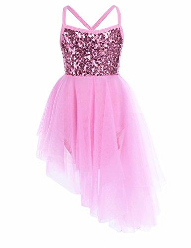 iEFiEL Kids Girls Sequined Irregular Camisole Ballet Dance Dress Tutu Skirt Gymnastic Leotard Ballerina Fairy Costume