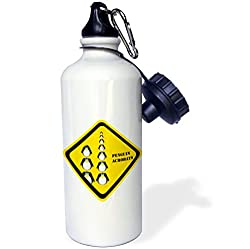 3dRose wb_172555_1 Caution Penguin Acrobats Sports Water Bottle, 21 oz, White