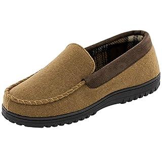 Men's Memory Foam h Fleece Lined Moccasin Slippers, Indoor Outdoor Wool Micro Suede Shoes, Camel, 7 UK