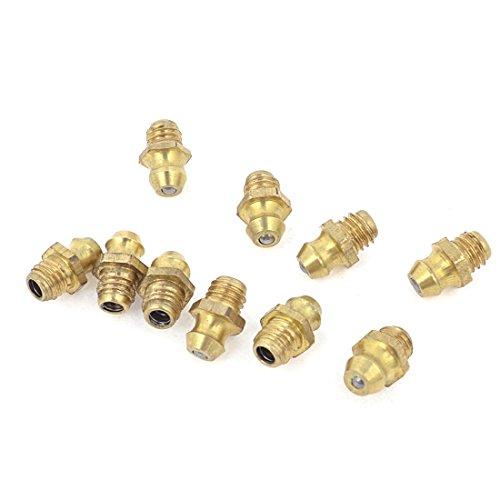 sourcingmap® 10Pcs 6mm Außengewinde Metall schmiernippel Fittings Gold