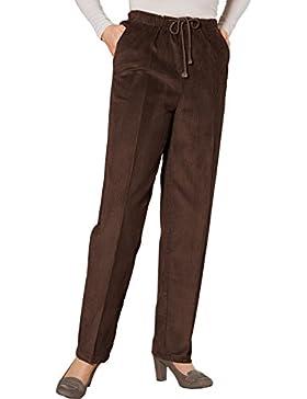Damas Cintura Del Lazo Pana Pantalones Marrón Cintura 94cm x Longitud De Las Piernas 79cm