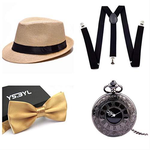 thematys Al Capone Mafia Gangster Hut + Fliege + Hosenträger + Taschenuhr - 20er Jahre Kostüm-Set für Damen & Herren - perfekt für Fasching & Karneval (7)