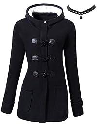 M-Queen Mujer Sudaderas con capucha con Horn botones Abrigo Chaqueta Hoodie Pullover Sweater Suéter