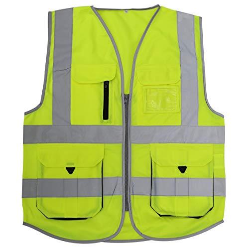 HSNMEY Unisex Warnweste EN 20471 Sicherheitsweste Hi-Vis mit Taschen Reflektorstreifen für Radsport, Gelb XL