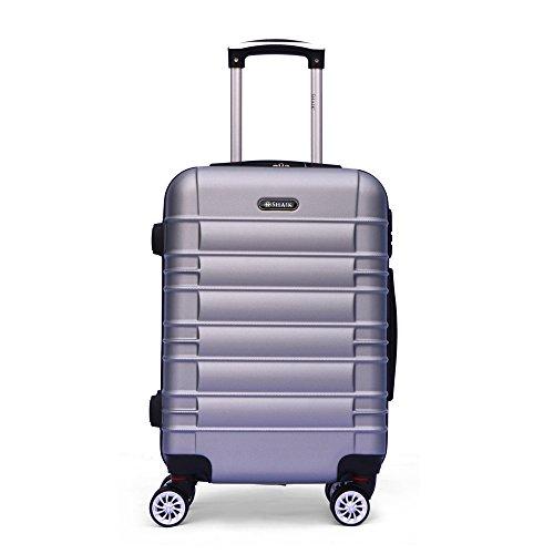 SHAIK SerieCLASSIC JFK Design Hartschalen Trolley, Koffer, Reisekoffer 4 Doppelrollen Zwillingsrollen, Zahlenschloss (Handgepäck, Silber)