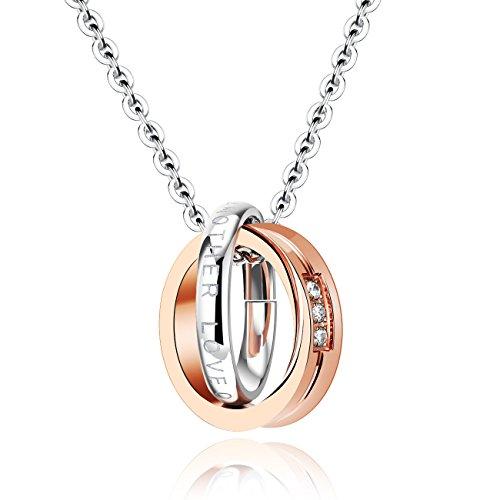 Kette, Anhänger Edelstahl Verriegelung Ring mit Versprechen Halsketten Geschenke für Paare, neue Modeschmuck Geschenk für Paare, Paare Halsketten Schwarz und Rosegold Rosegold (Versprechen Ringe Halskette)