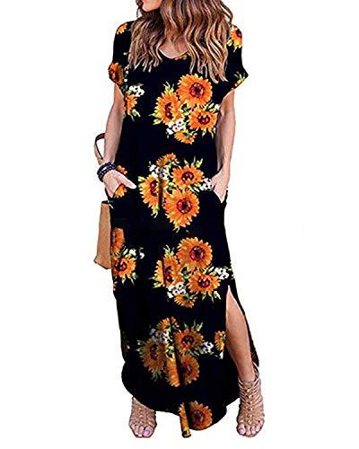 Kidsform Maxi Kleid Damen Großen Größen Sommerkleider Elegant Strandkleider Kurzarm V-Ausschnitt Split Lang Kleid XXL Maxi-kleid Kleid