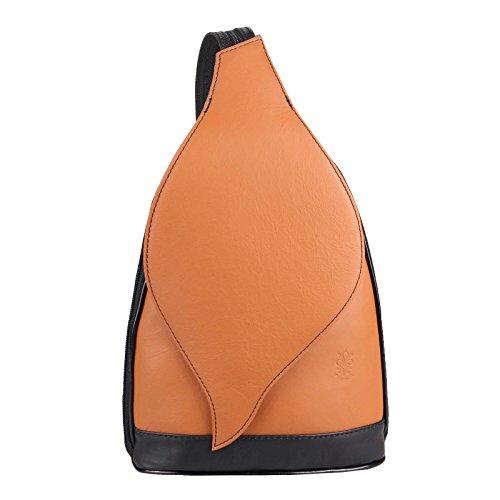 OBC Made in Italy DAMEN echt Leder RUCKSACK Minirucksack Lederrucksack Tasche Schultertasche Ledertasche Rucksack Handtasche Nappaleder Schwarz-Rot