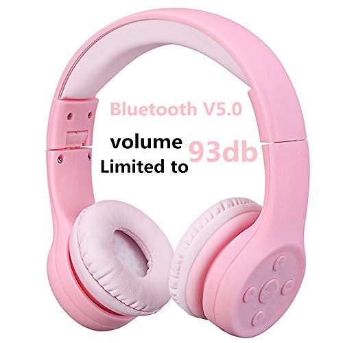 Bluetooth Kopfhörer Kinder, Hisonic Leicht kopfhörer Bluetooth Kopfhörer für Kinder mit Laustärkebegrenzung Verstellbare Leicht Tragbare Headset auch Mikrofon Funktion. (Rosa 01)