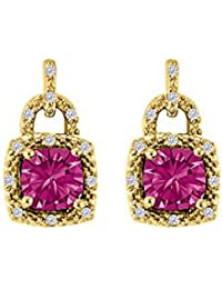 Unique Design Square Pink Sapphire and CZ Stud Earrings