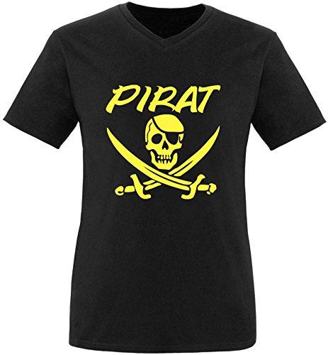 EZYshirt® Pirat Herren V-Neck T-Shirt Schwarz/Gelb