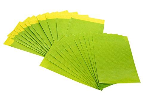 Preisvergleich Produktbild 100 Stück grüne (limone-quitte) Papiertüten; 13 x 18 cm; für Geschenktüten, Adventskalender, Geschenke verpacken usw.