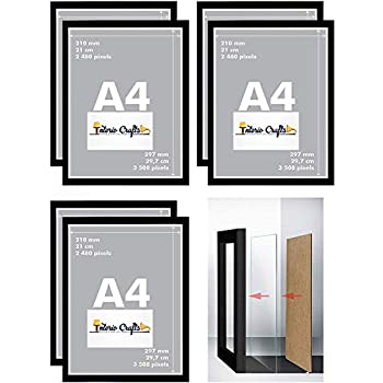 """Interio Crafts 12""""x8"""" Picture Set of 6 Frame with Glass in Front for Wall Hanging;Made to Display Picture Photo- Wide Molding - Built in Hanging Features; (12x8 inches, Black, Combo Set of 6)"""
