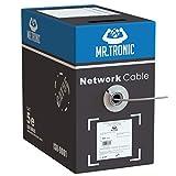 Mr. Tronic 305m Cavo di Rete Ethernet   CAT5E, AWG24, CCA, UTP, RJ45   Bobina di Rete   Grigio (305 Metri)