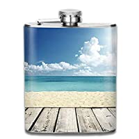 Travel Flask High Quality Stainless Steel Flasks 7 Oz Landscape Blue Image of Tropical Beach from Wooden Pier with Bright Sky Landscape Summer Whiskey Flask Hip Flask Leak Proof Wine Men Women