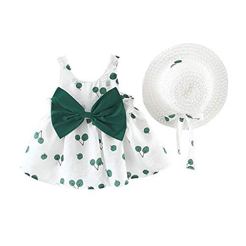 ng Baby Mädchen Kleid Ärmelloses O-Neck-Kleid Blumenschleife Prinzessin Sommerkleider Festes Kleid (Grün -5, 100) ()