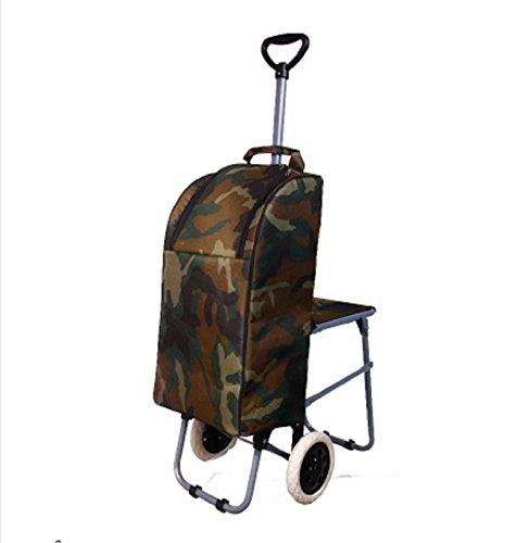 WAYMX Teleskopstange Falten mit Hocker Warenkorb kann Klettern die Treppen ältere Kinder Lebensmittelgeschäft Einkaufswagen Trolley Gepäck (33 * 53 * 74cm), a -