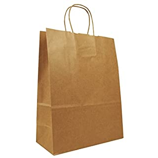 50 x Natural Brown Twisted Handle Paper Bags, 26cm wide, A4
