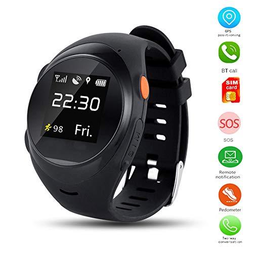 TLgf Smartwatch WiFi GPS-Tracking-Uhr, IPS-Bildschirm wasserdicht, Unterstützung SIM-Karte, genaue Positionierung, Sturzalarm, HD-Sprachanruf, Schrittzähler,Black (Quadband Handy Uhr)