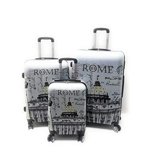 Set 3 Trolley Clacson ABS Fantasia Disegno ROMA,LONDRA,PARIGI,NEW YORK Lucido rigido 8 Ruote con Trolley Ryanair (ROMA)