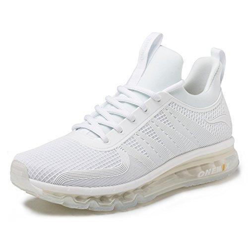 e Herren Leichte Sportschuhe mit Luftpolster Turnschuhe Fitness Schuhe Sneakers Weiß 42 ()