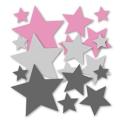 18 Stück selbstklebende Sterne Aufkleber, Wandtattoo, Türaufkleber, Fahrradaufkleber, Autoaufkleber, Mix-Set rosa grau für Mädchen, Fensterdekoration Fensterbild / Fensteraufkleber, Sticker, Weihnachtsdekoration, Schaufenster In- und Outdoor 62s1 von tima