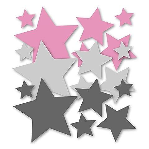 18 Stück selbstklebende Sterne Aufkleber, Wandtattoo, Türaufkleber, Fahrradaufkleber, Autoaufkleber, Mix-Set rosa grau für Mädchen, Fensterdekoration Fensterbild / Fensteraufkleber, Sticker, Weihnachtsdekoration, Schaufenster In- und Outdoor (Für Mädchen)