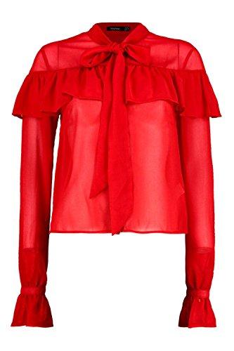 rouge Femmes Lauren Sheer chemise nouée à volants aux poignets Rouge