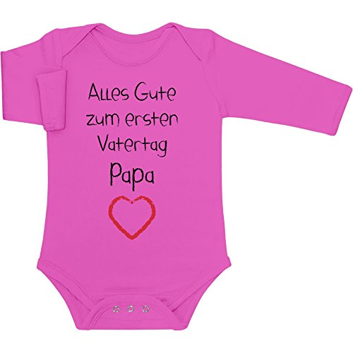 Shirtgeil Alles Gute zum ersten Vatertag Papa Herz - Vater Geschenk Langarm Baby Body 81/86 (12-18M) Wow rosa