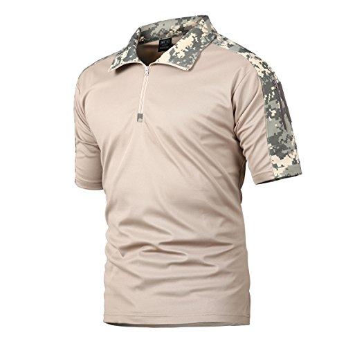 Camisa de Combate para Hombres Caza táctica Militar Polo de Manga Corta Held Airsoft Camuflaje Camiseta Uniforme táctico Ropa Deportes al Aire Libre para Multicam ACU x-Small