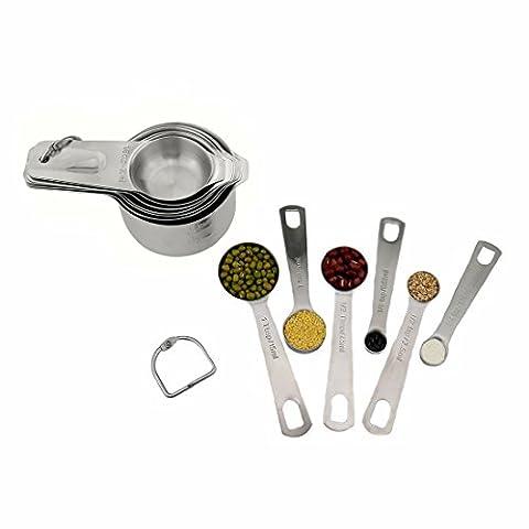 Tasses à mesurer et ensemble de cuillères de cuisine en acier inoxydable 18/8tasses Outil par Abimars–avec des bagues D et gravé de mesure pour la cuisson cuisson Kits de cuillères à mesurer 13pcs Argent