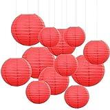 Sonnis 12 Pièces Lanterne en Papier Rouge Lanterne en Papier Ronde Lampes en Papier Boule pour Décoration Mariage Maison, Garden Party Décoration et intérieure Plafond Noël Fête (Rouge)