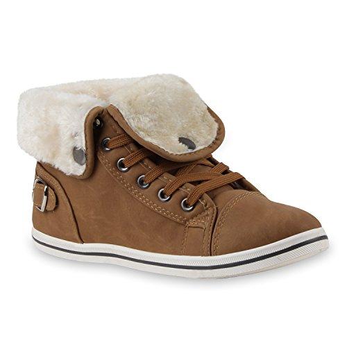 Warm Gefütterte Damen Sneakers High Kunstfell Schnallen Flats Hellbraun