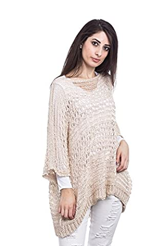 Abbino 2147 Feinstrickpullover Pullover for Woman Girl - Made in Italy - 4 Colours - Spring Summer Autumn Womans Long Sleeves Scoop Neck Casual Jumper Pullover Sweater Sexy Sale - Beige - One Size