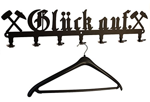 Wandgarderobe Glück auf - Bergwerk Gruß, Flurgarderobe 58 cm, Kleiderhaken, Hakenleiste, Garderobeneiste, Garderobenhalter, Garderobe - Metall, schwarz