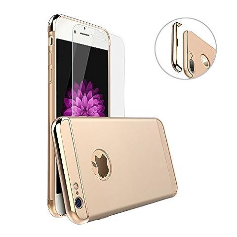 iPhone 6 Plus/6S Plus Coque, Uiano® [3 en 1 Series] Non Slip Surface antichoc [Avec Verre Trempé] Electro Placage Texture Protector [dur] Skin pour Apple iPhone 6 Plus and iPhone 6s Plus-(5.5