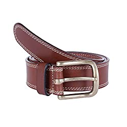 Kara Brown Color Genuine Leather Semi Formal Belt For Men (40)