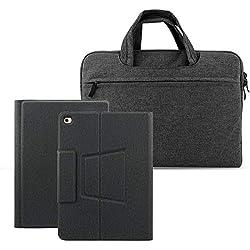 Wendapai Clavier Bluetooth Coque iPad 9.7'',AZERTY français, Housse Clavier pour 2018/2017 Nouvel iPad 9.7,iPad Pro 9.7, iPad Air 2/1 avec 9-12 Pouces Sac à Main Universel pour Tablette Noir