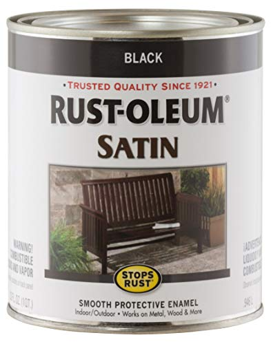 Rustoleum 1 Quart Satin Black Protective Enamel Oil Base Paint 7777-502