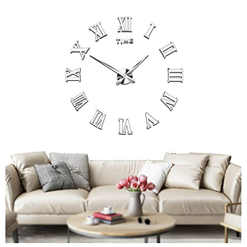 Orologi muto fai da te grande frameless orologio da parete numeri romani 3d adesivi specchio per le decorazioni home office - 2 anni di garanzia (argento)