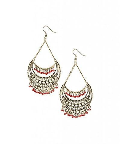 Lux Accessories - Pendants D'Oreilles Perles Graines Or Et Rouge