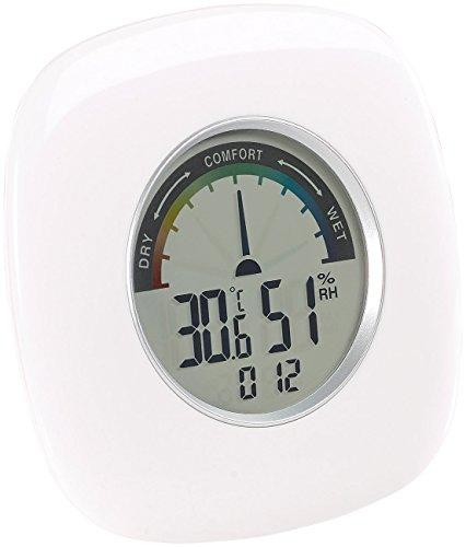 PEARL Luftfeuchtemesser: Digitales XXL Thermometer, Hygrometer & Uhr, grafische Anzeige, 10 cm (Digitales Thermo-Hygrometer) Grafische Anzeige