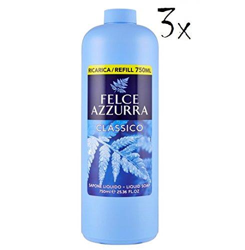 3x Felce Azzurra Handseife classico Cremeseife seife Flüssigseife 750ml Nachfüll