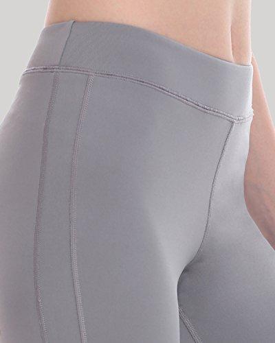 SYROKAN Femme Legging Sport Collant Capri de Running Pure Lime Fitness Pantalon Gris