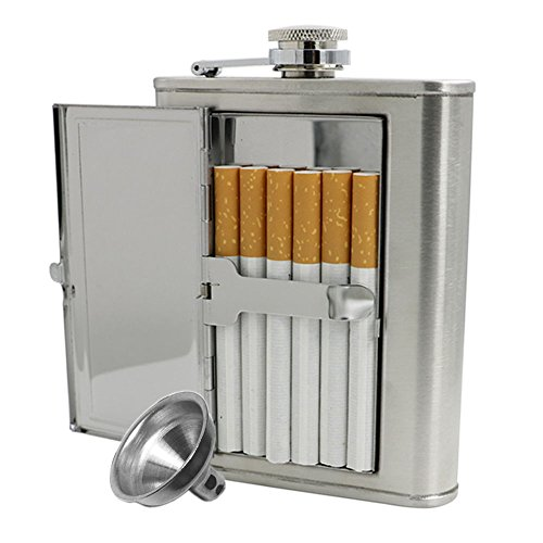 Jujor Edelstahl-Flachmann mit integriertem Zigarettenetui und Trichter, edelstahl, silber, 6 oz